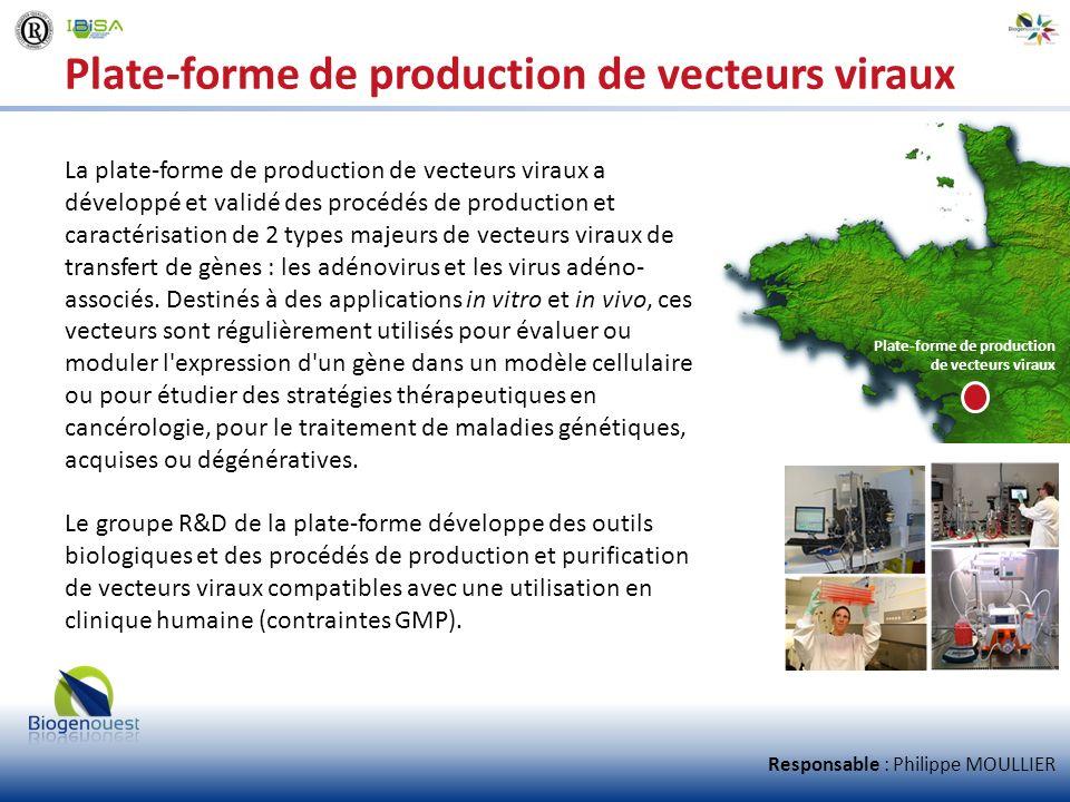 Plate-forme de production de vecteurs viraux La plate-forme de production de vecteurs viraux a développé et validé des procédés de production et carac