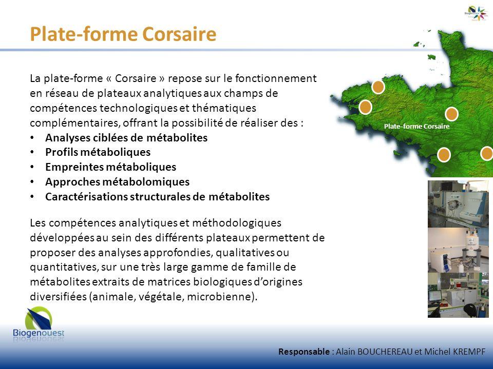 Plate-forme Corsaire La plate-forme « Corsaire » repose sur le fonctionnement en réseau de plateaux analytiques aux champs de compétences technologiqu