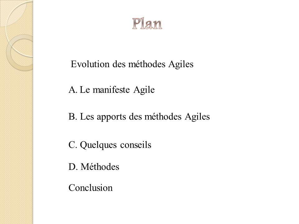 A.Le manifeste Agile B.Les apports des méthodes Agiles C.