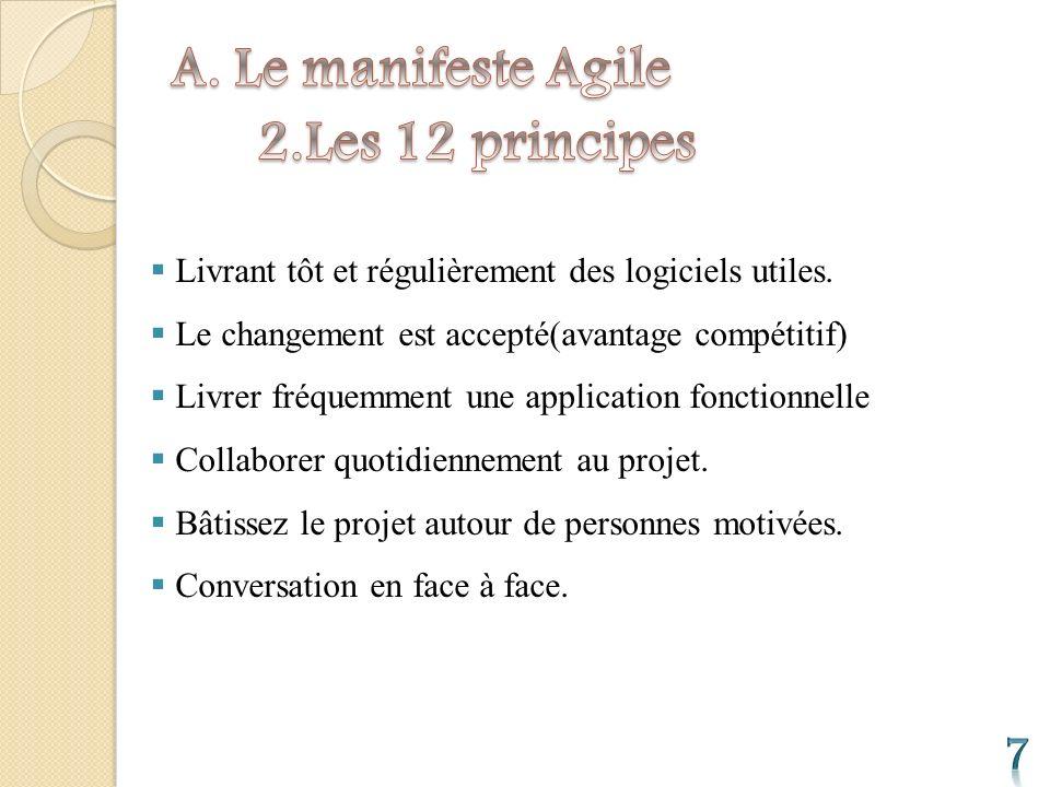 Un logiciel fonctionnel est la meilleure unité de mesure de la progression du projet.