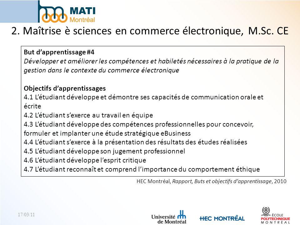 17/03/11 HEC Montréal, Rapport, Buts et objectifs dapprentissage, 2010 2. Maîtrise è sciences en commerce électronique, M.Sc. CE But dapprentissage #4