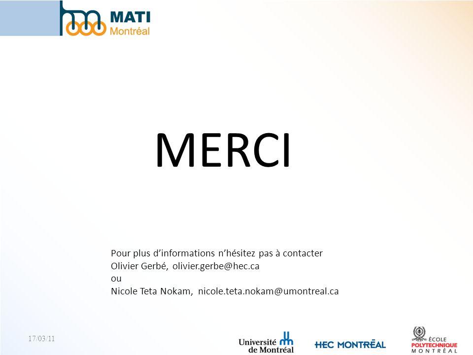 17/03/11 MERCI Pour plus dinformations nhésitez pas à contacter Olivier Gerbé, olivier.gerbe@hec.ca ou Nicole Teta Nokam, nicole.teta.nokam@umontreal.