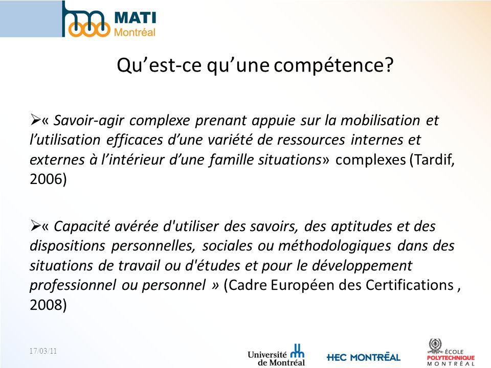17/03/11 ePMATI Portfolio Référentiel de compétences Évaluation des compétences