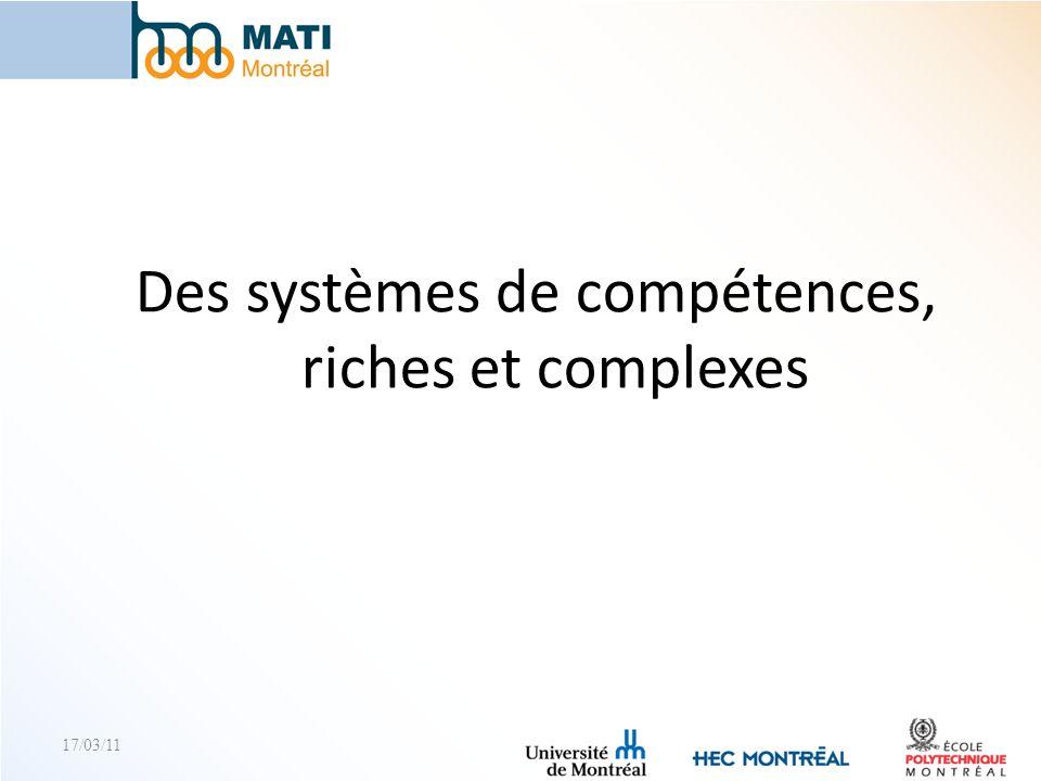 17/03/11 Des systèmes de compétences, riches et complexes