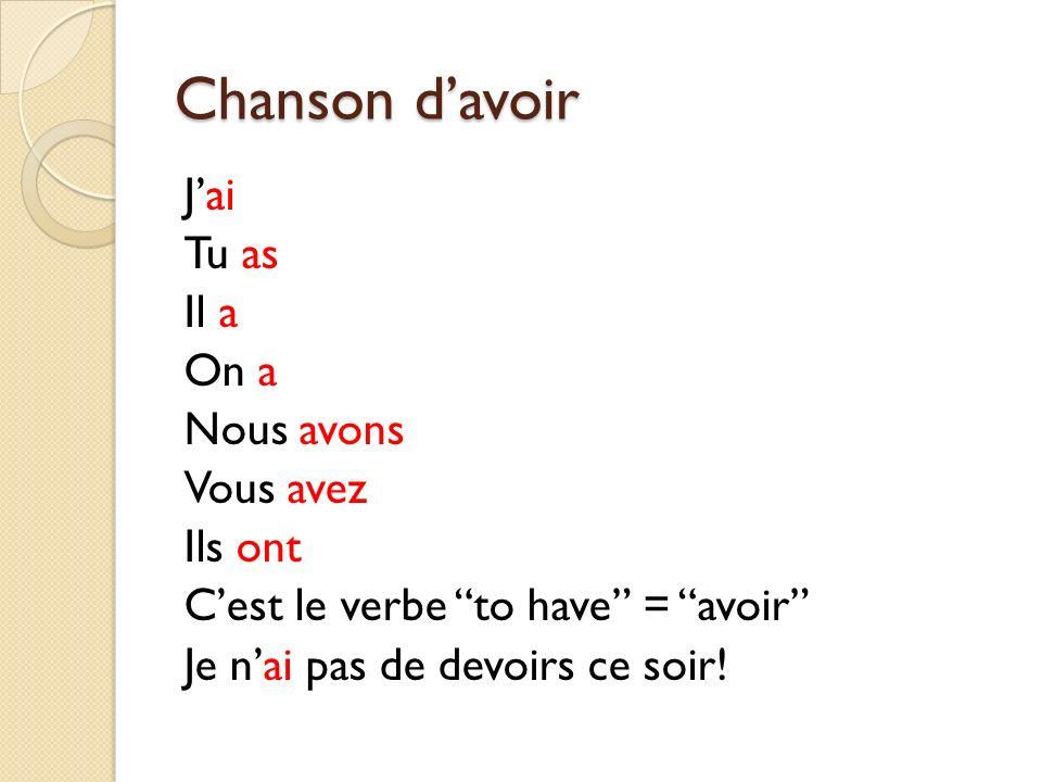 Chanson davoir Jai Tu as Il a On a Nous avons Vous avez Ils ont Cest le verbe to have = avoir Je nai pas de devoirs ce soir!