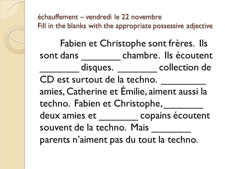 échauffement – vendredi le 22 novembre Fill in the blanks with the appropriate possessive adjective Fabien et Christophe sont frères.