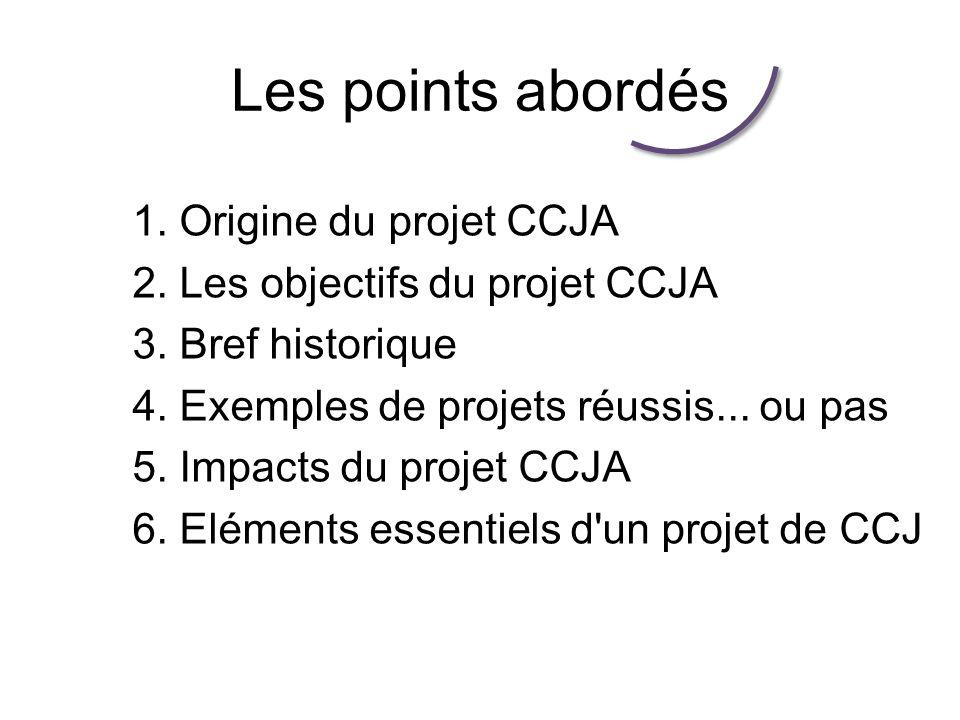 Les points abordés 1.Origine du projet CCJA 2. Les objectifs du projet CCJA 3.