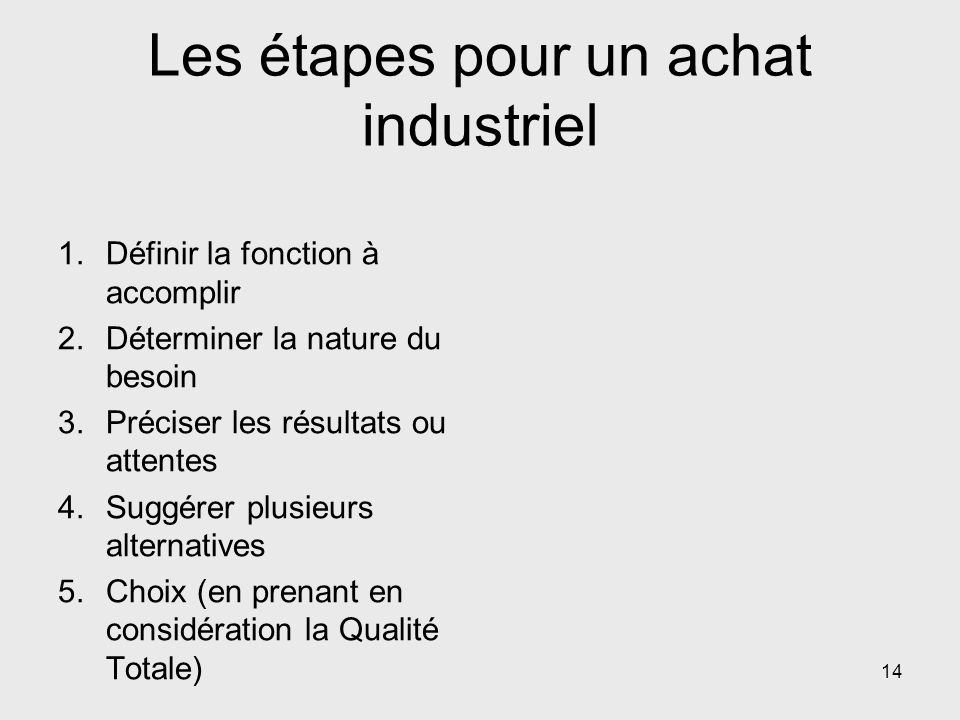Les étapes pour un achat industriel 1.Définir la fonction à accomplir 2.Déterminer la nature du besoin 3.Préciser les résultats ou attentes 4.Suggérer