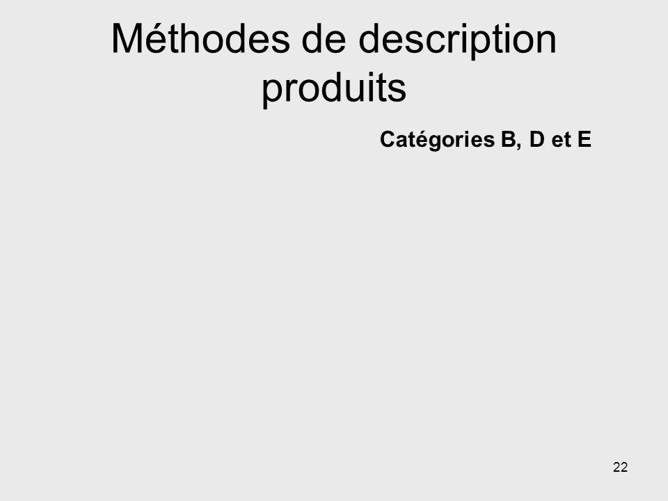 Méthodes de description produits Catégories B, D et E 22