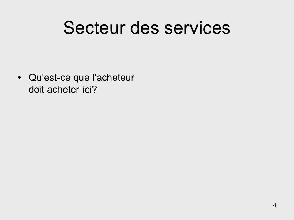 Secteur des services Quest-ce que lacheteur doit acheter ici? 4
