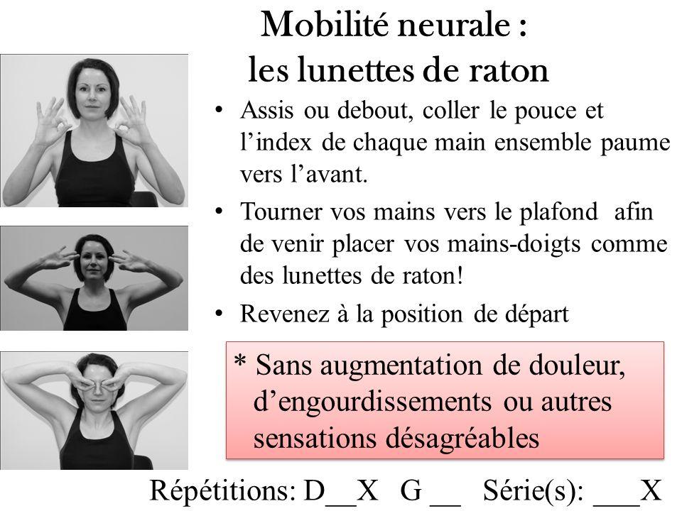 Mobilité neurale : les lunettes de raton Assis ou debout, coller le pouce et lindex de chaque main ensemble paume vers lavant.