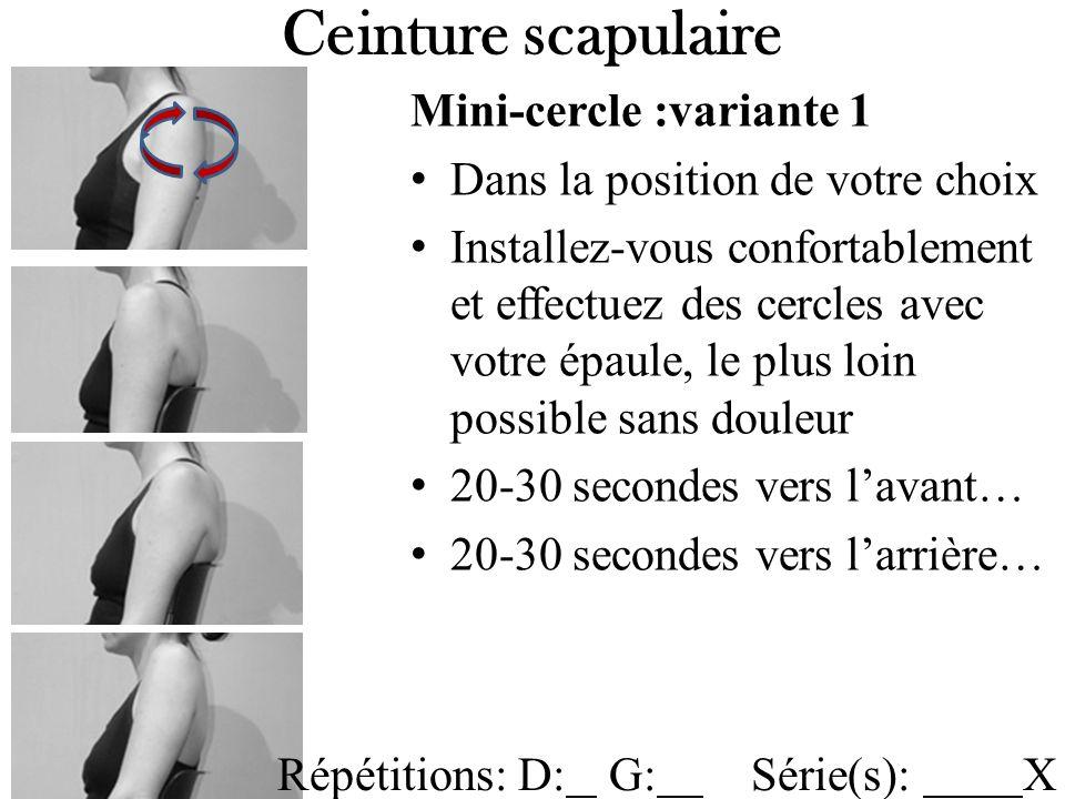 Mini-cercle :variante 1 Dans la position de votre choix Installez-vous confortablement et effectuez des cercles avec votre épaule, le plus loin possible sans douleur 20-30 secondes vers lavant… 20-30 secondes vers larrière… Ceinture scapulaire Répétitions: D: G: Série(s): X
