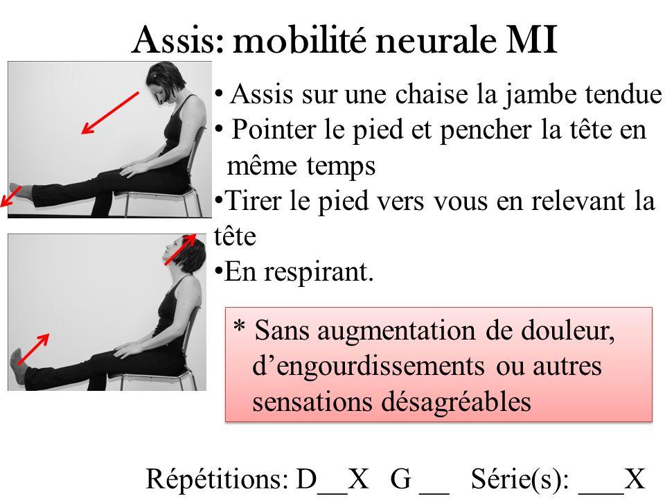 Assis: mobilité neurale MI Assis sur une chaise la jambe tendue Pointer le pied et pencher la tête en même temps Tirer le pied vers vous en relevant la tête En respirant.