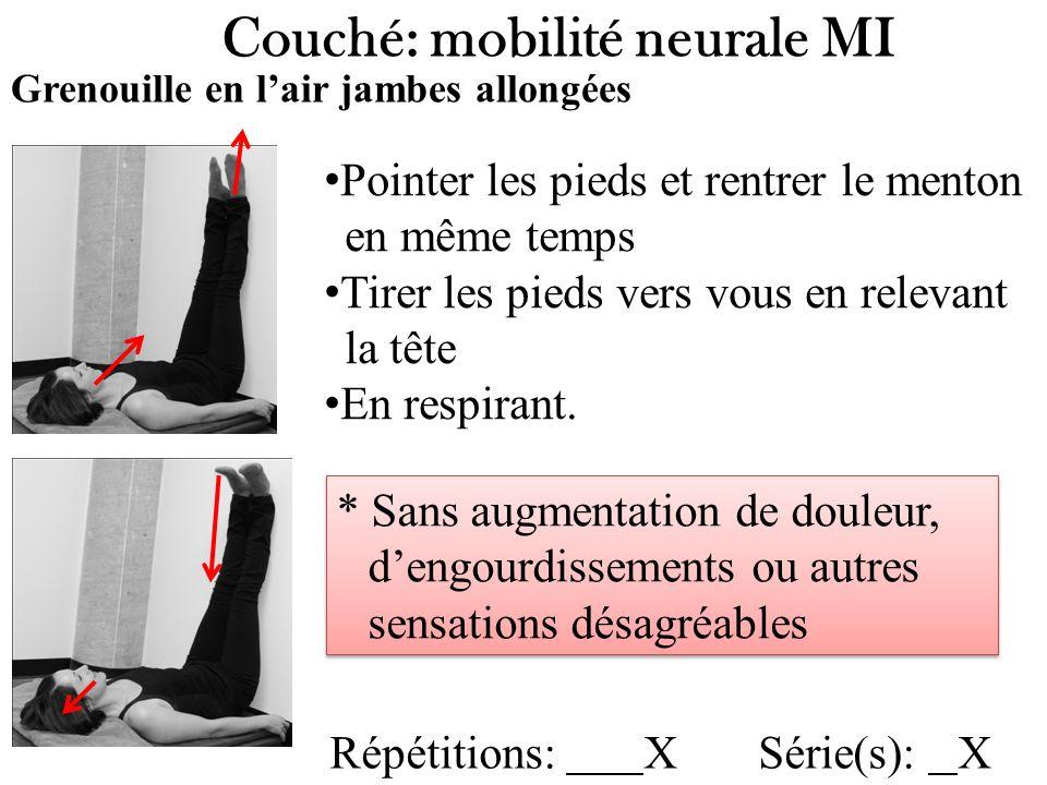 Couché: mobilité neurale MI Grenouille en lair jambes allongées Répétitions: X Série(s): X Pointer les pieds et rentrer le menton en même temps Tirer les pieds vers vous en relevant la tête En respirant.