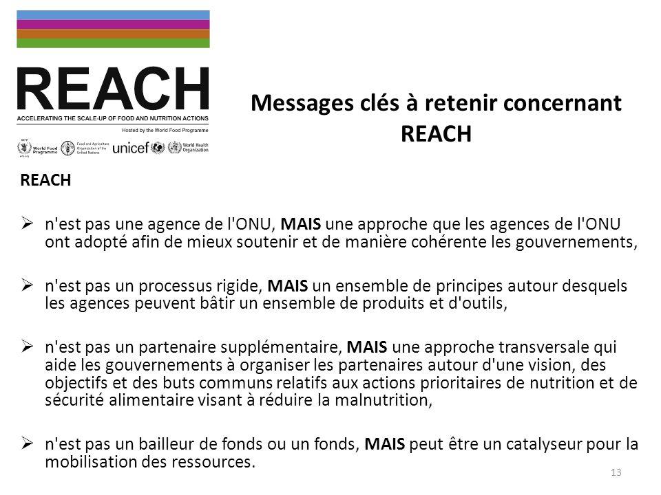 Messages clés à retenir concernant REACH REACH n'est pas une agence de l'ONU, MAIS une approche que les agences de l'ONU ont adopté afin de mieux sout