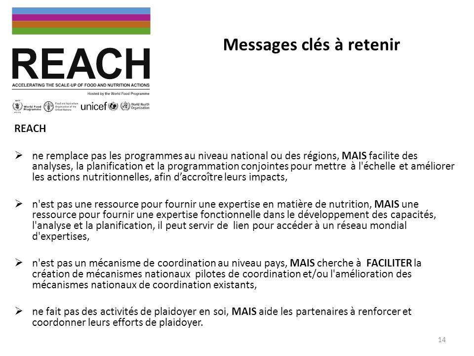 Messages clés à retenir REACH ne remplace pas les programmes au niveau national ou des régions, MAIS facilite des analyses, la planification et la pro