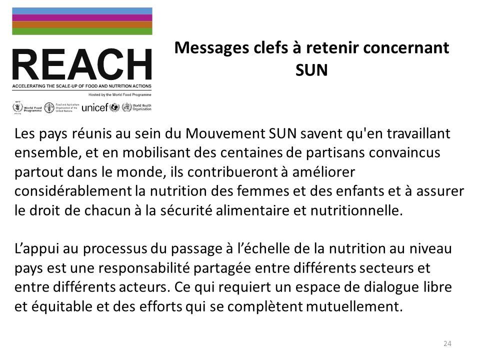Messages clefs à retenir concernant SUN Les pays réunis au sein du Mouvement SUN savent qu'en travaillant ensemble, et en mobilisant des centaines de