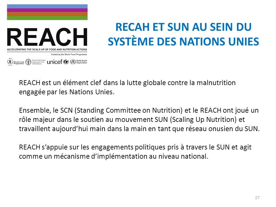 RECAH ET SUN AU SEIN DU SYSTÈME DES NATIONS UNIES REACH est un élément clef dans la lutte globale contre la malnutrition engagée par les Nations Unies