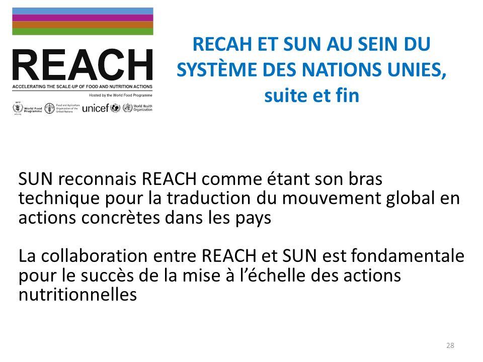 RECAH ET SUN AU SEIN DU SYSTÈME DES NATIONS UNIES, suite et fin SUN reconnais REACH comme étant son bras technique pour la traduction du mouvement glo