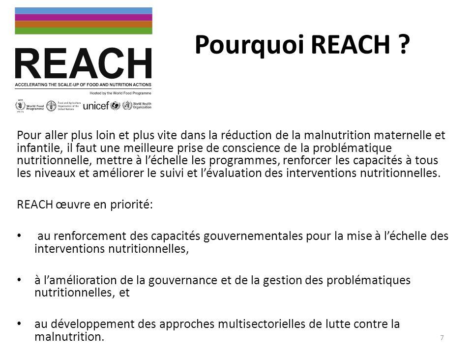 Pourquoi REACH ? Pour aller plus loin et plus vite dans la réduction de la malnutrition maternelle et infantile, il faut une meilleure prise de consci