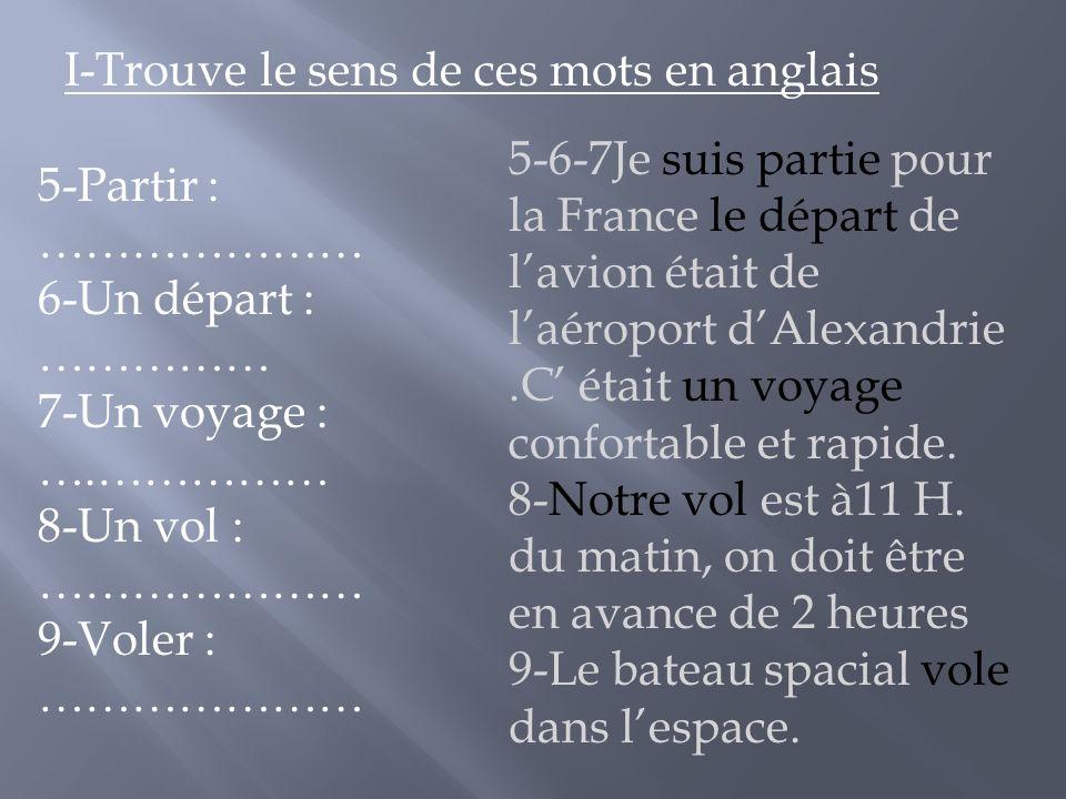 5-6-7Je suis partie pour la France le départ de lavion était de laéroport dAlexandrie.C était un voyage confortable et rapide.