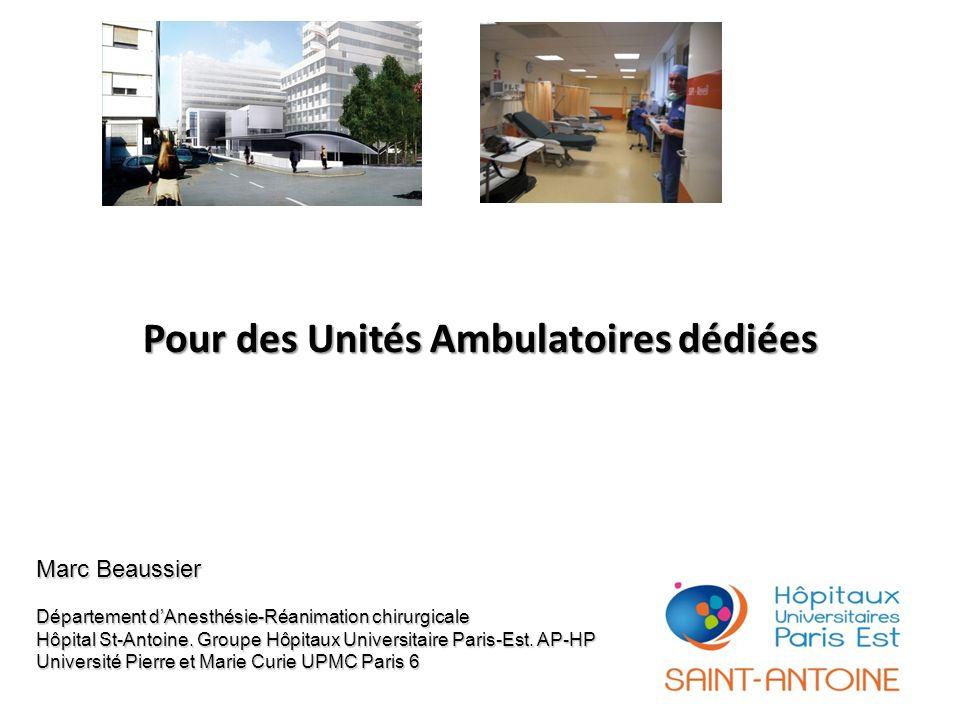 Pour des Unités Ambulatoires dédiées Marc Beaussier Département dAnesthésie-Réanimation chirurgicale Hôpital St-Antoine. Groupe Hôpitaux Universitaire