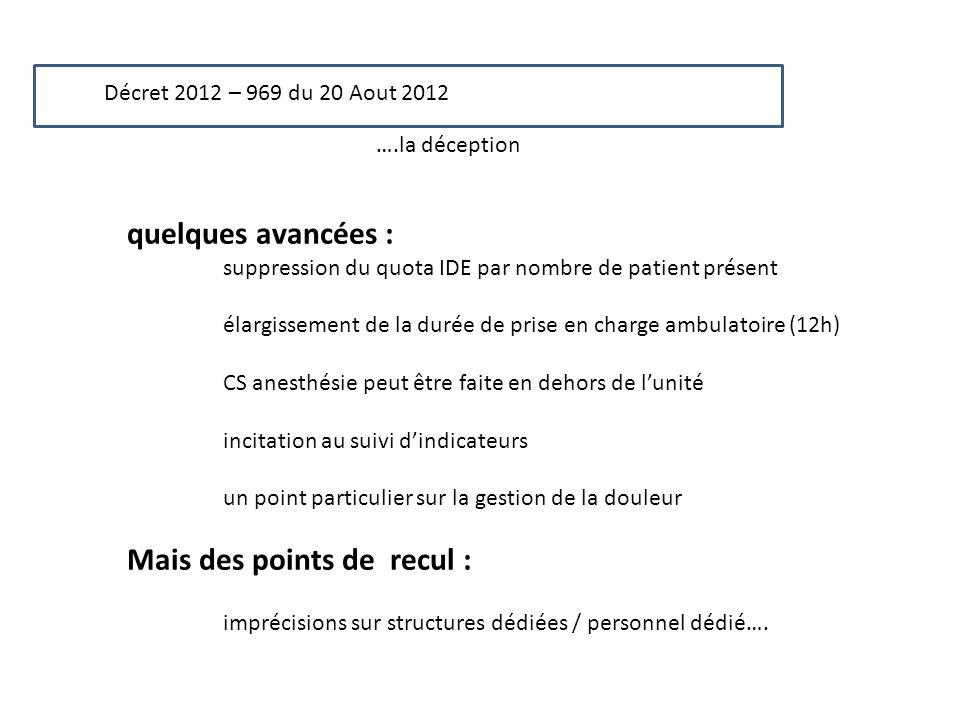 Décret 2012 – 969 du 20 Aout 2012 ….la déception quelques avancées : suppression du quota IDE par nombre de patient présent élargissement de la durée