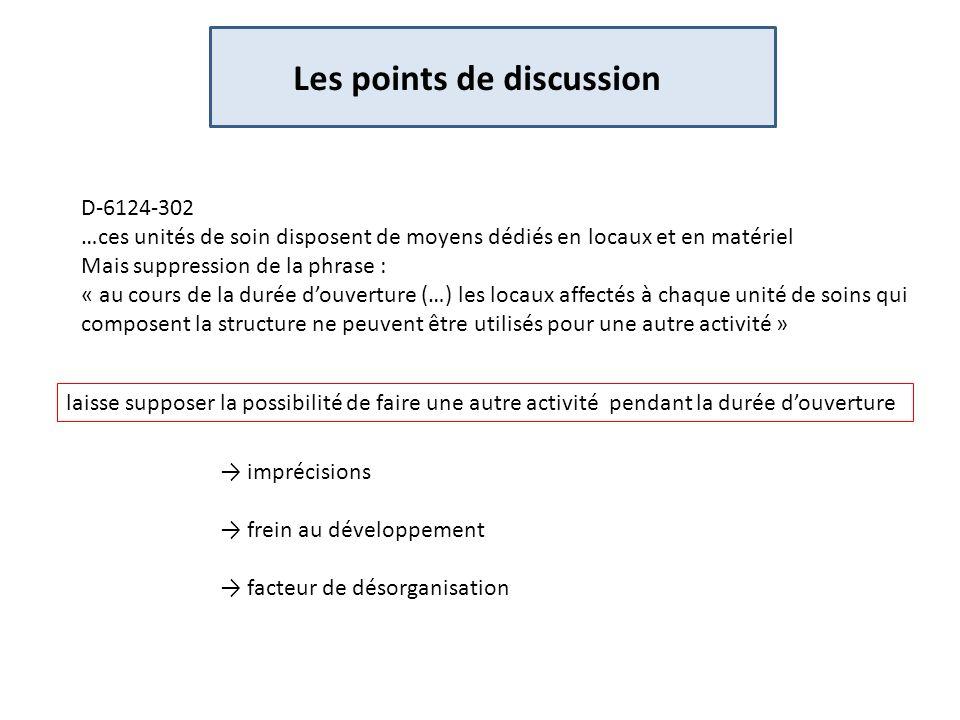 Les points de discussion D-6124-302 …ces unités de soin disposent de moyens dédiés en locaux et en matériel Mais suppression de la phrase : « au cours