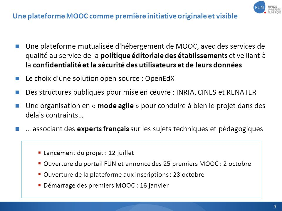Une plateforme mutualisée d'hébergement de MOOC, avec des services de qualité au service de la politique éditoriale des établissements et veillant à l