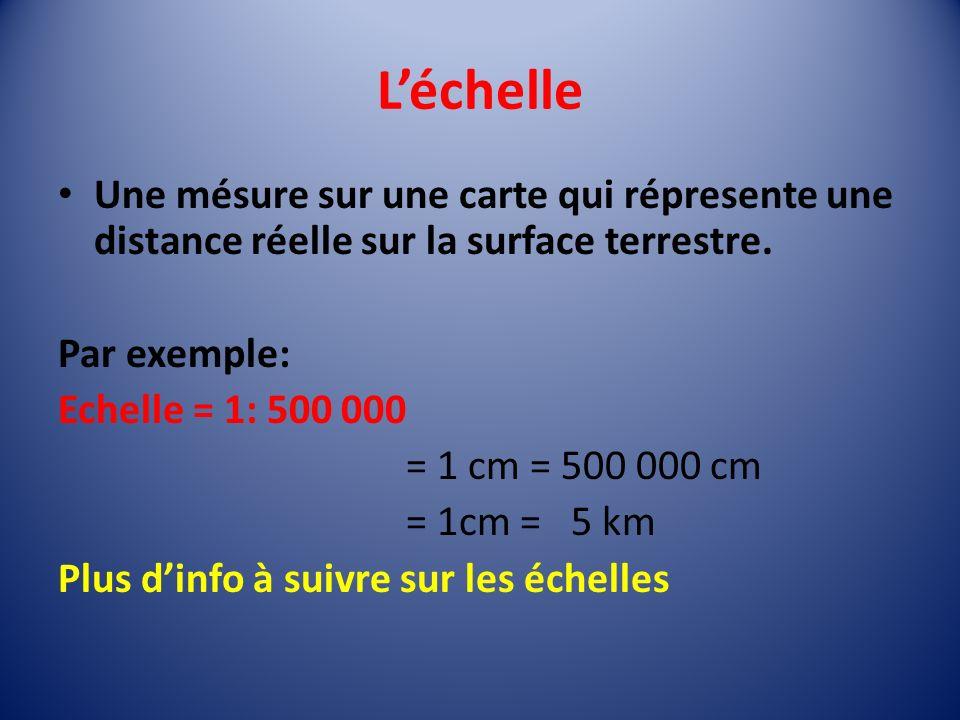 Léchelle Une mésure sur une carte qui répresente une distance réelle sur la surface terrestre.