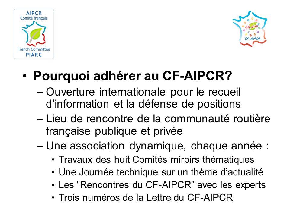 Pourquoi adhérer au CF-AIPCR? –Ouverture internationale pour le recueil dinformation et la défense de positions –Lieu de rencontre de la communauté ro