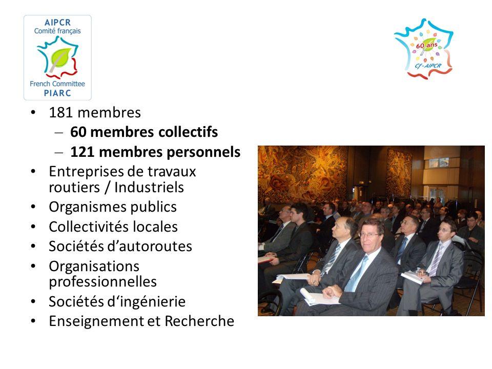 181 membres – 60 membres collectifs – 121 membres personnels Entreprises de travaux routiers / Industriels Organismes publics Collectivités locales So