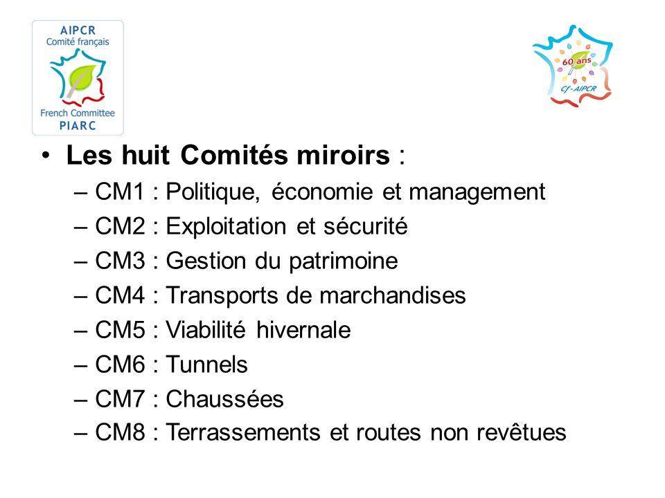 Les huit Comités miroirs : –CM1 : Politique, économie et management –CM2 : Exploitation et sécurité –CM3 : Gestion du patrimoine –CM4 : Transports de