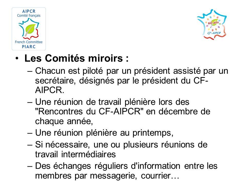 Les Comités miroirs : –Chacun est piloté par un président assisté par un secrétaire, désignés par le président du CF- AIPCR. –Une réunion de travail p