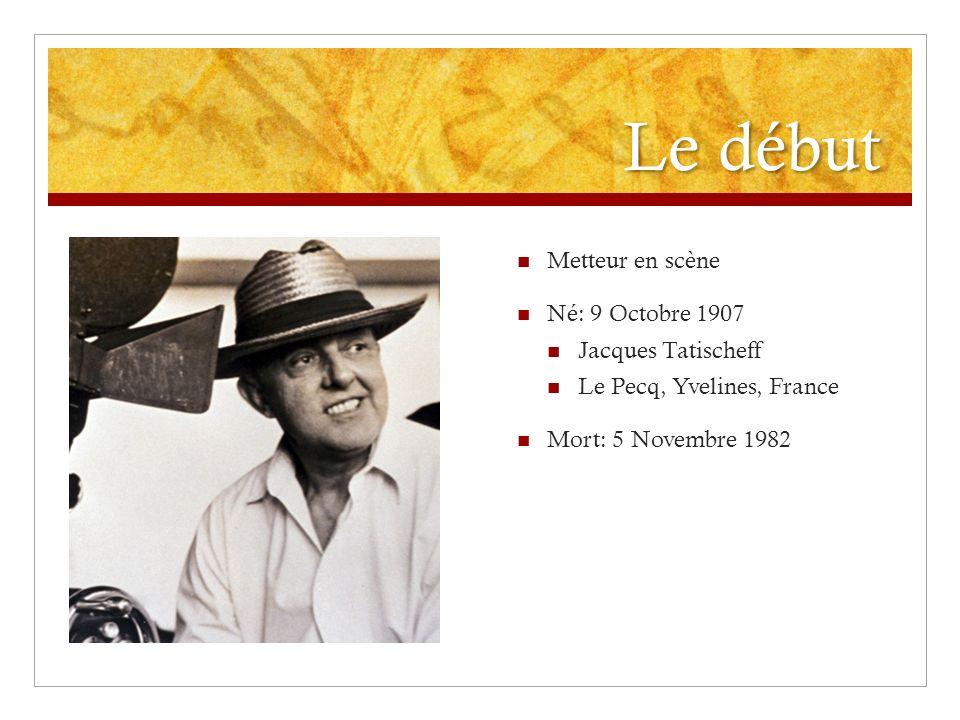 Le début Metteur en scène Né: 9 Octobre 1907 Jacques Tatischeff Le Pecq, Yvelines, France Mort: 5 Novembre 1982