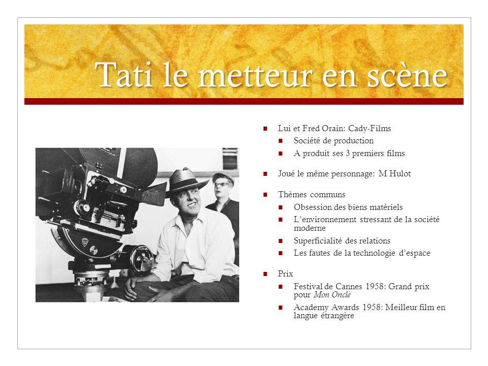 Tati le metteur en scène Lui et Fred Orain: Cady-Films Société de production A produit ses 3 premiers films Joué le même personnage: M Hulot Thèmes co