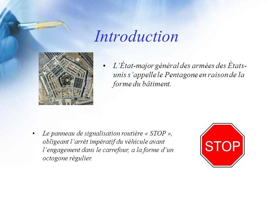 Introduction LÉtat-major général des armées des États- unis sappelle le Pentagone en raison de la forme du bâtiment. Le panneau de signalisation routi