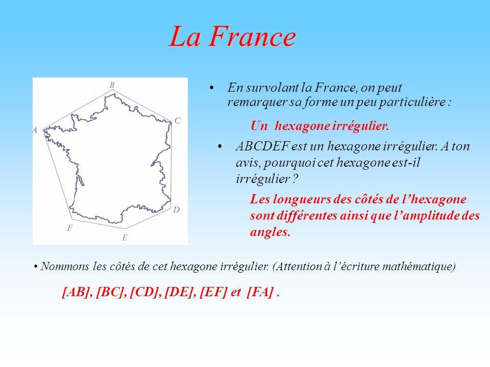 La France En survolant la France, on peut remarquer sa forme un peu particulière : ABCDEF est un hexagone irrégulier. A ton avis, pourquoi cet hexagon