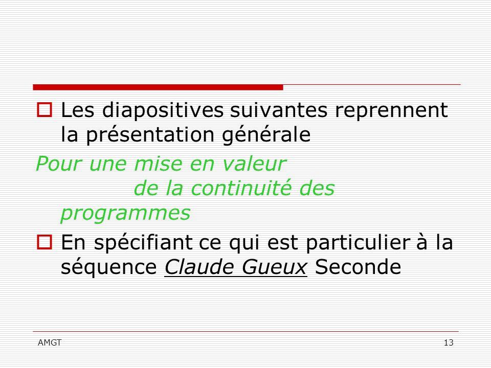 AMGT13 Les diapositives suivantes reprennent la présentation générale Pour une mise en valeur de la continuité des programmes En spécifiant ce qui est