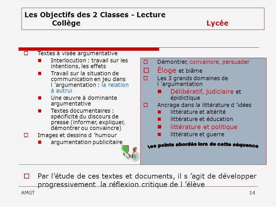 AMGT14 Par létude de ces textes et documents, il s agit de développer progressivement la réflexion critique de l élève Les Objectifs des 2 Classes - L