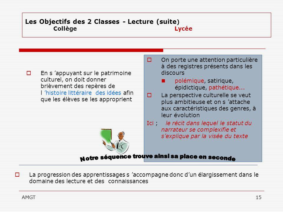 AMGT15 La progression des apprentissages s accompagne donc dun élargissement dans le domaine des lecture et des connaissances Les Objectifs des 2 Clas