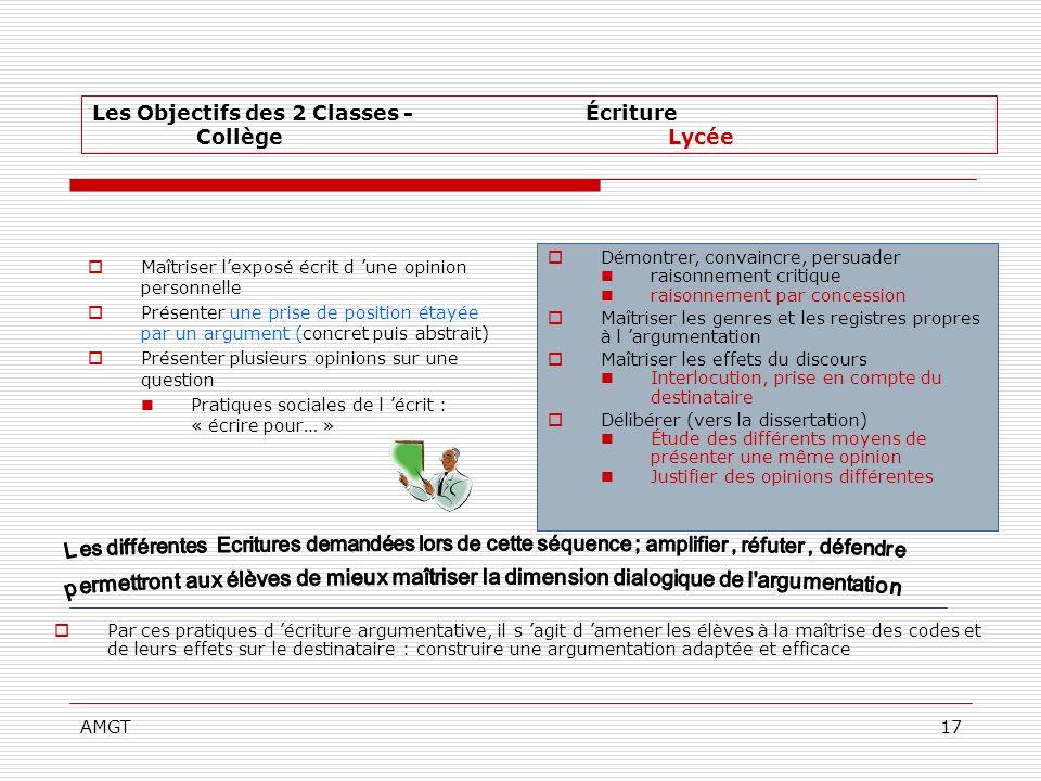 AMGT17 Par ces pratiques d écriture argumentative, il s agit d amener les élèves à la maîtrise des codes et de leurs effets sur le destinataire : cons