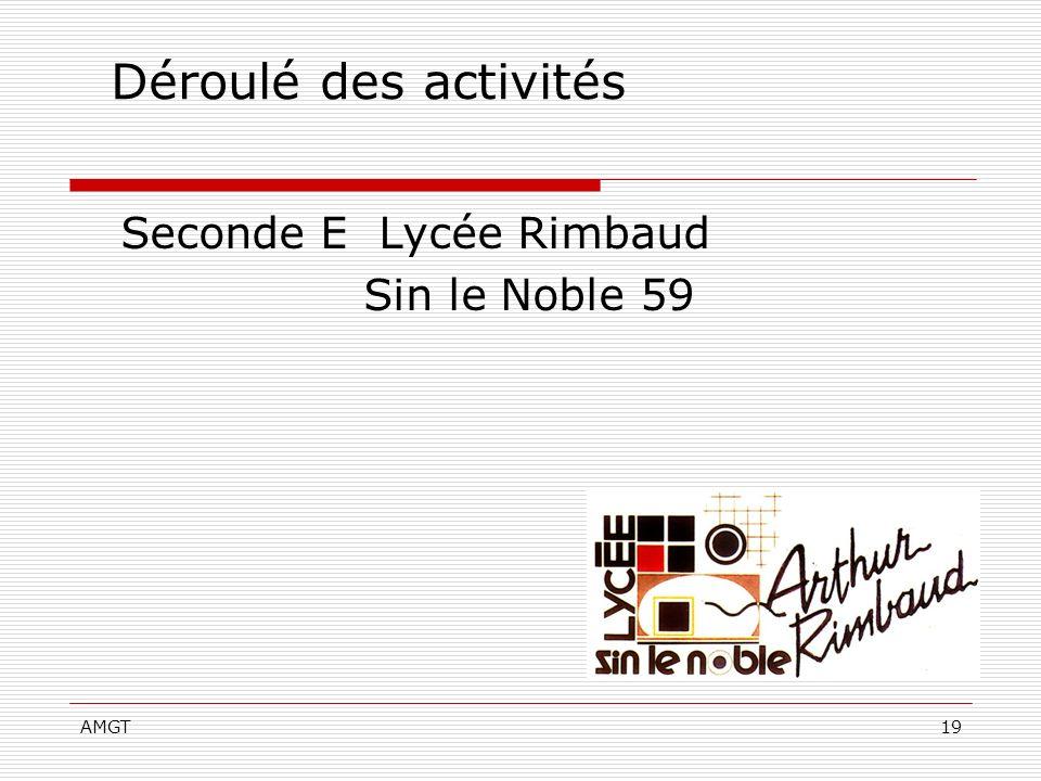 AMGT19 Déroulé des activités Seconde E Lycée Rimbaud Sin le Noble 59