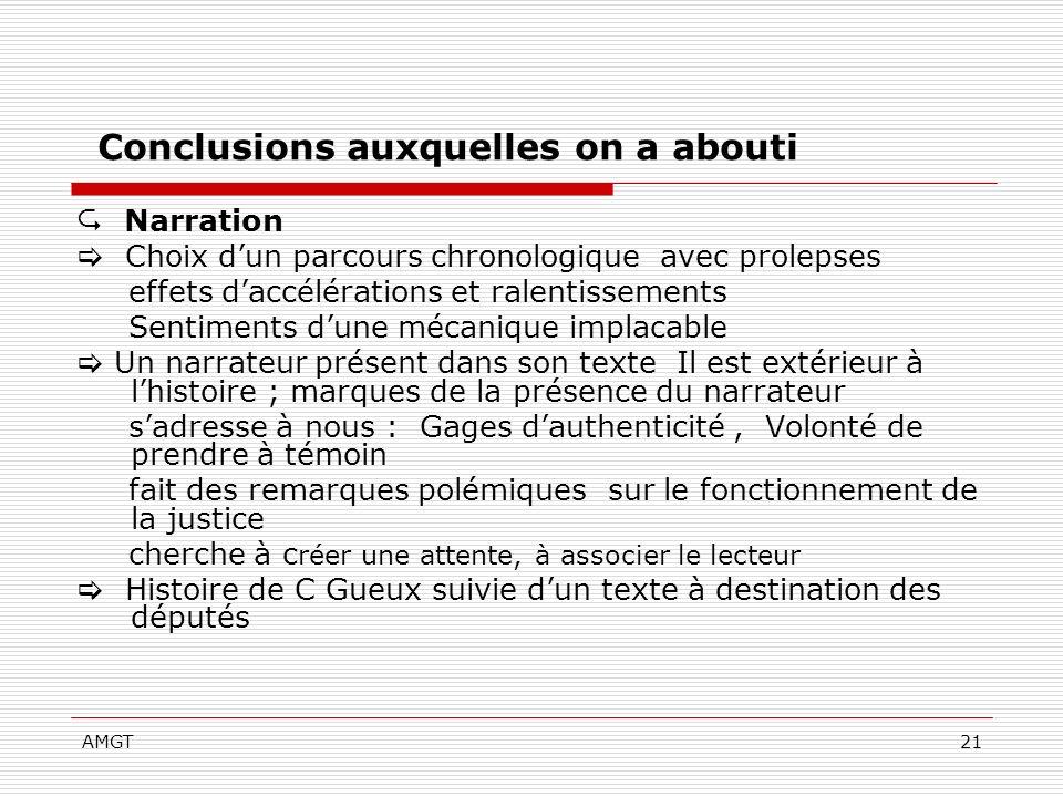 AMGT21 Conclusions auxquelles on a abouti Narration Choix dun parcours chronologique avec prolepses effets daccélérations et ralentissements Sentiment