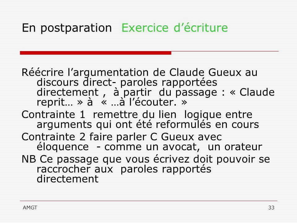 AMGT33 En postparation Exercice décriture Réécrire largumentation de Claude Gueux au discours direct- paroles rapportées directement, à partir du pass