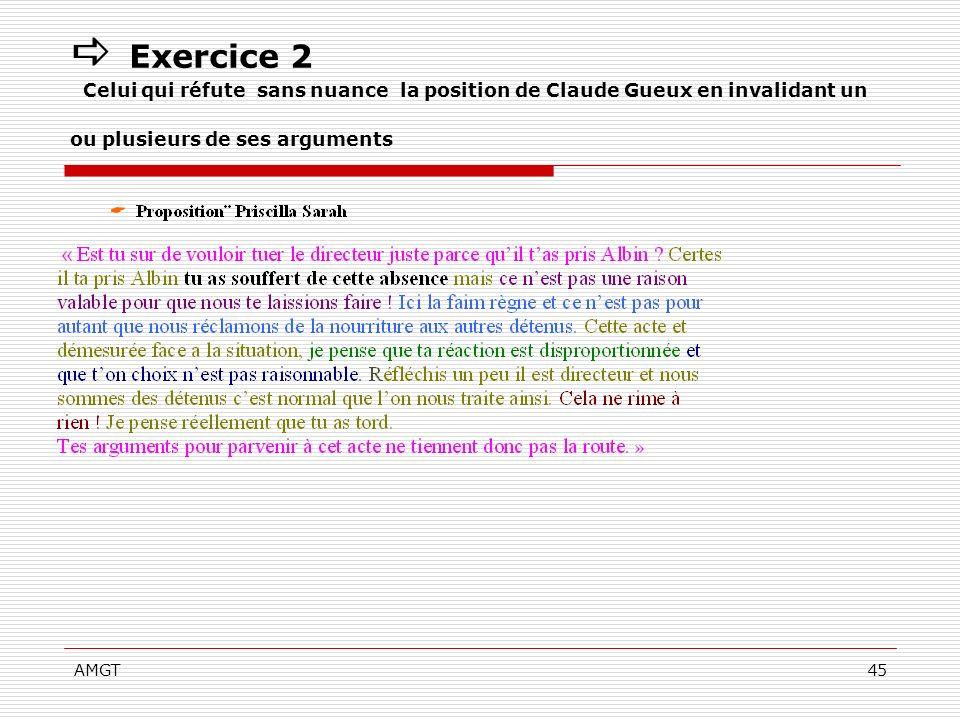 AMGT45 Exercice 2 Celui qui réfute sans nuance la position de Claude Gueux en invalidant un ou plusieurs de ses arguments