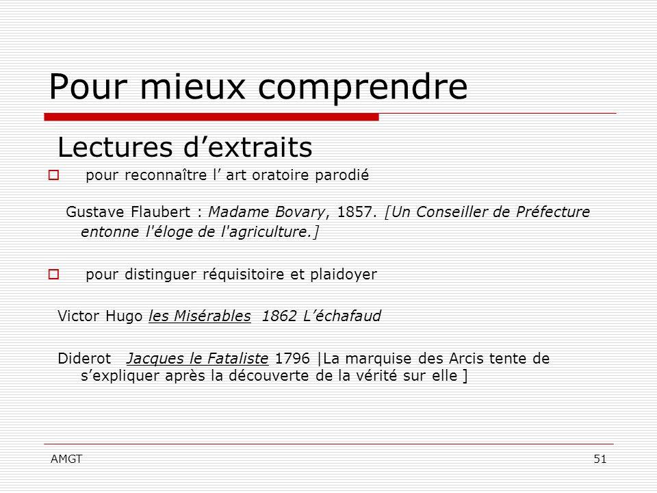 AMGT51 Pour mieux comprendre Lectures dextraits pour reconnaître l art oratoire parodié Gustave Flaubert : Madame Bovary, 1857. [Un Conseiller de Préf