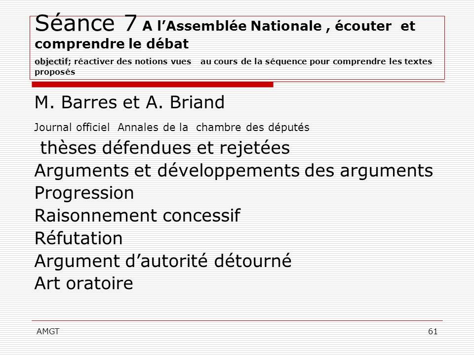 AMGT61 objectif Séance 7 A lAssemblée Nationale, écouter et comprendre le débat objectif; réactiver des notions vues au cours de la séquence pour comp