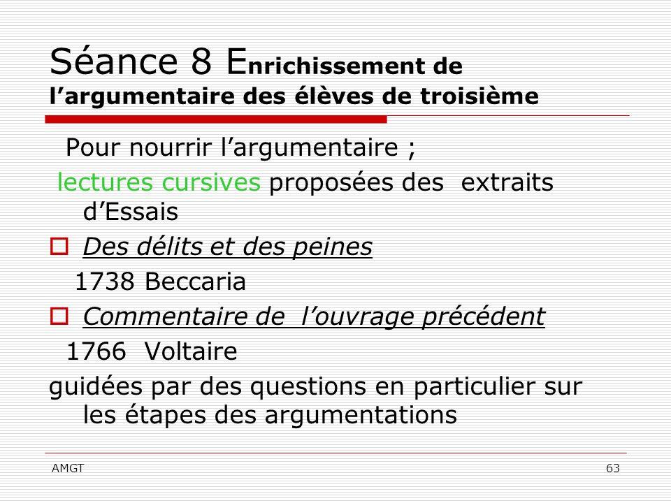 AMGT63 Séance 8 E nrichissement de largumentaire des élèves de troisième Pour nourrir largumentaire ; lectures cursives proposées des extraits dEssais