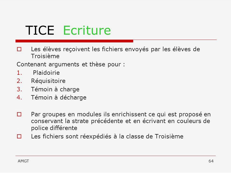 AMGT64 TICE Ecriture Les élèves reçoivent les fichiers envoyés par les élèves de Troisième Contenant arguments et thèse pour : 1. Plaidoirie 2.Réquisi